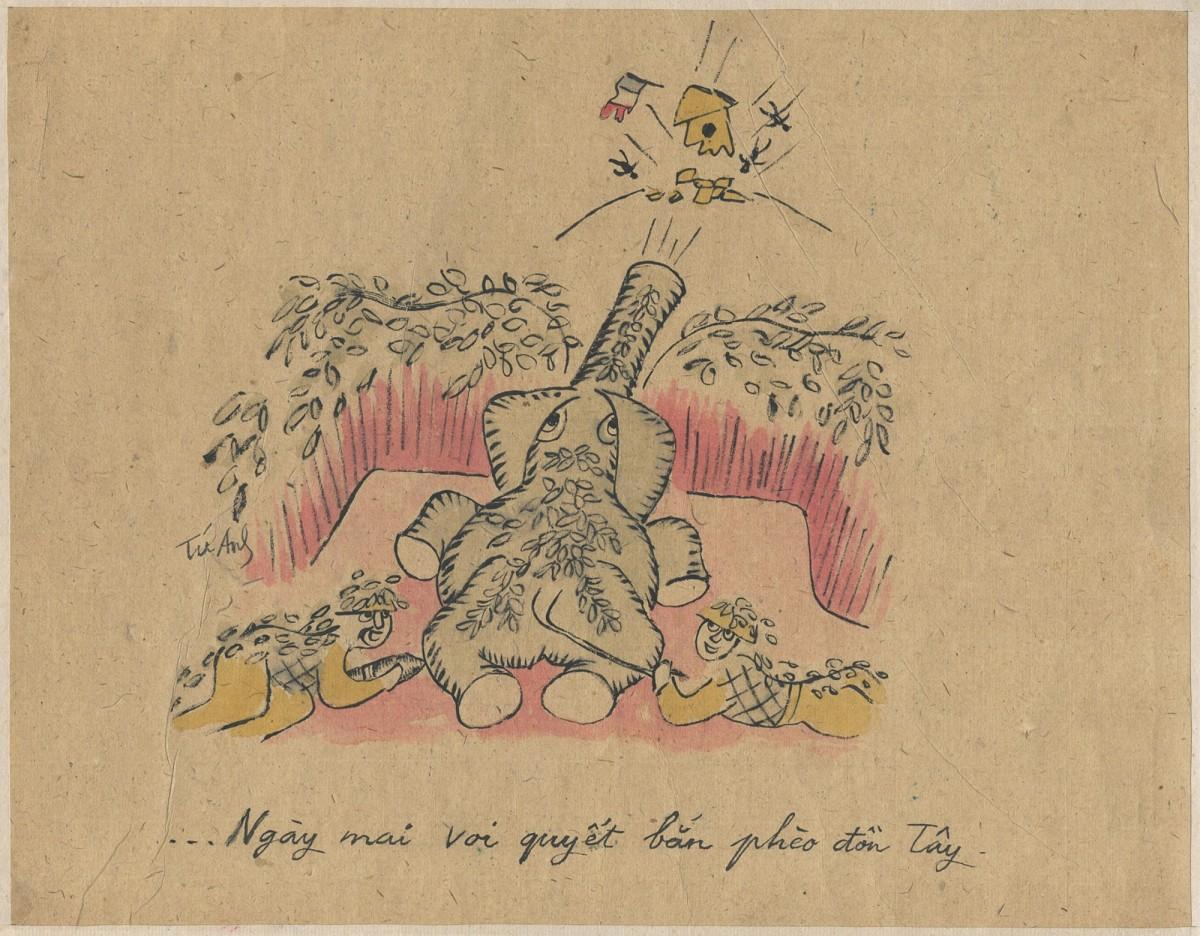 Huỳnh Văn Thuận, Anti-French Cartoon, 1950 © Huỳnh Văn Thuận / Witness Collection